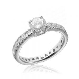 Inel de logodna argint Solitar cu cristale laterale TRSR013, Corelle