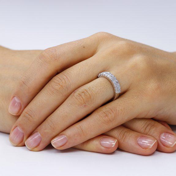 Inel de logodna argint Fancy Semi Eternity cu cristale TRSR017, Corelle