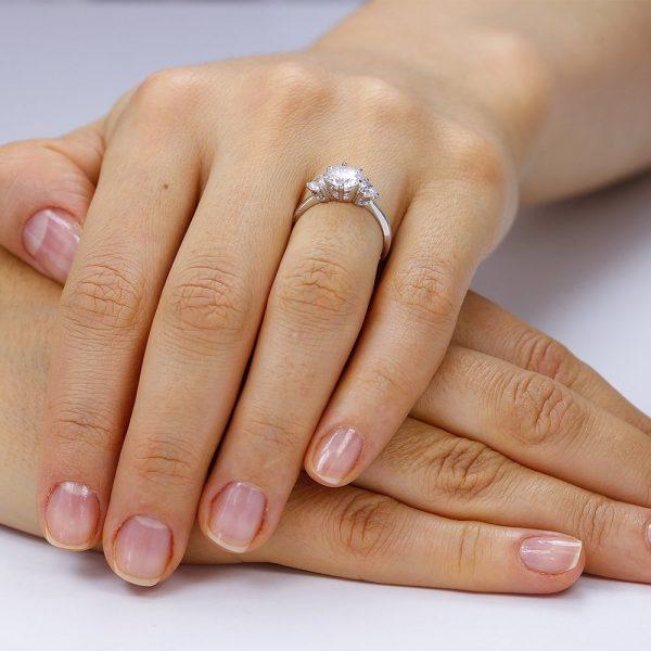 Inel de logodna argint cu 3 cristale TRSR022, Bijuterii - Corelle