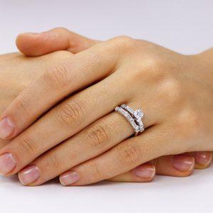 Grup de doua inele logodna argint cu cristale TRSR046, Corelle