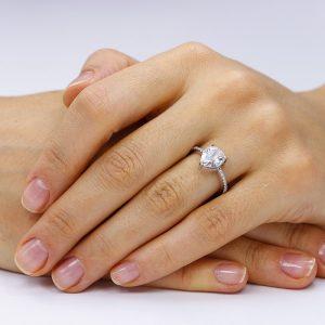 Inel de logodna argint Lacrima Solitar cu cristale TRSR050, Corelle