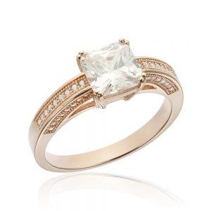Inel de logodna argint Princess Solitar cu cristale TRSR064, Corelle