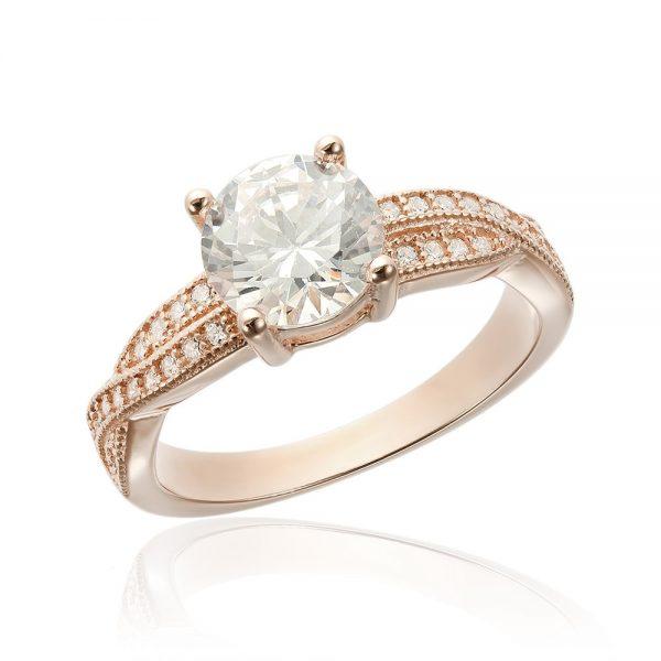 Inel de logodna argint Solitar cu cristale laterale mici TRSR067, Corelle