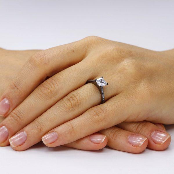 Inel de logodna argint Princess Solitar cu cristale TRSR068, Corelle