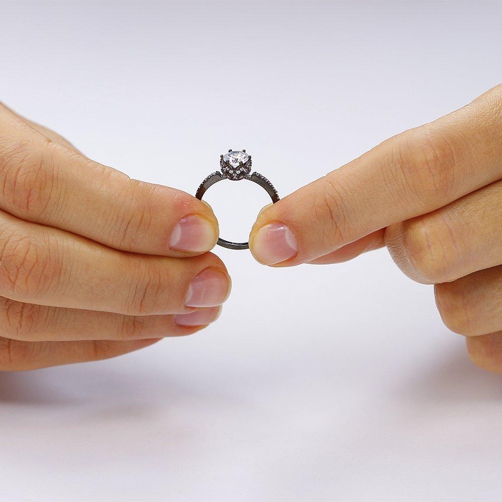 Inel de logodna argint Solitar Negru cu cristale TRSR072, Corelle