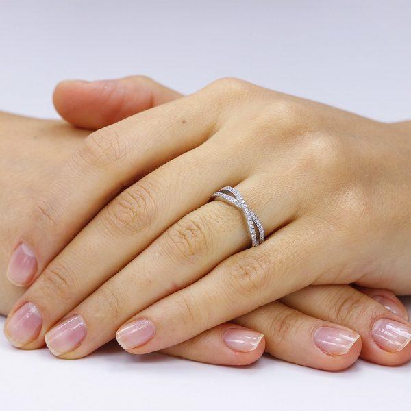 Inel argint Semi Eternity cu cristale TRSR073, Bijuterii - Corelle