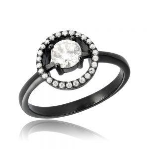 Inel de logodna argint Solitar Negru Anturaj cu cristale TRSR082, Corelle