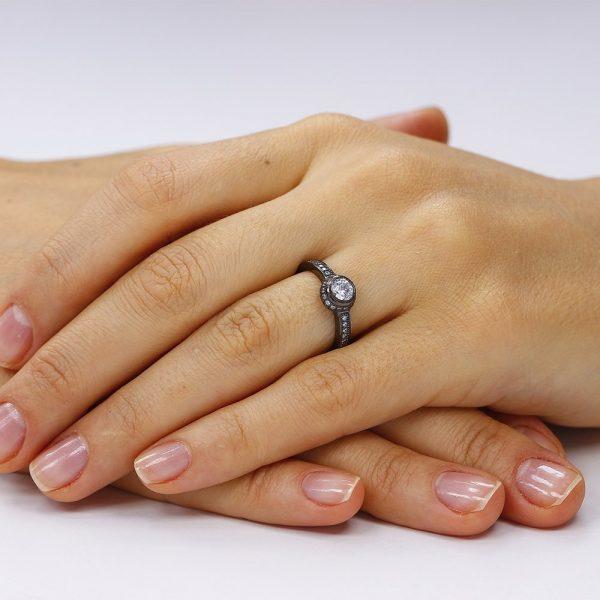 Inel de logodna argint Solitar Negru cu cristale TRSR083, Corelle