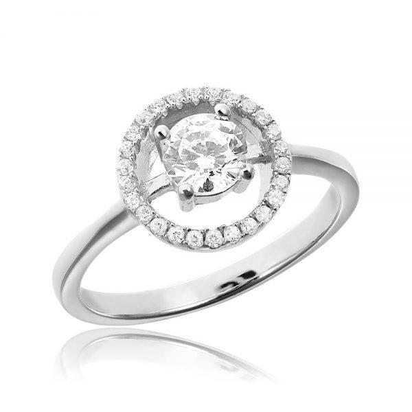 Inel de logodna argint Solitar White Anturaj cu cristale TRSR084, Corelle