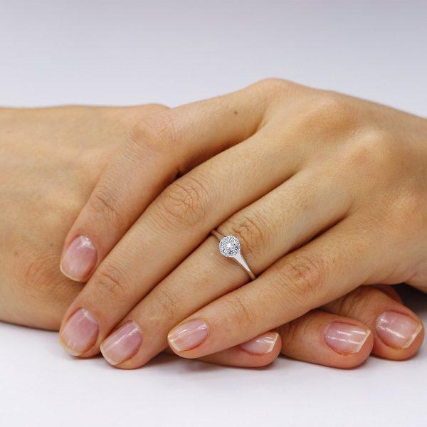 Inel de logodna argint Cluster cu cristale TRSR095, Bijuterii - Corelle
