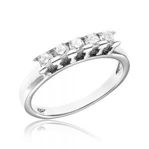 Inel argint cu 5 cristale briliant din zirconiu TRSR099, Bijuterii - Corelle