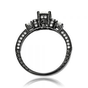 Inel de logodna argint Negru cu 3 cristale mari TRSR105, Corelle