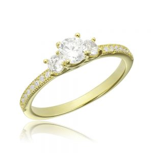 Inel de logodna argint cu 3 cristale centrale TRSR108, Corelle