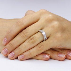 Inel de logodna argint Cocktail cu cristale TRSR109, Bijuterii - Corelle