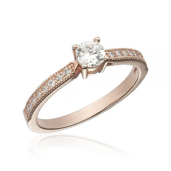Inel de logodna argint Solitar cu cristale laterale mici TRSR111, Corelle