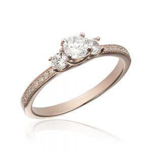 Inel de logodna argint Roz cu 3 cristale mari TRSR112, Corelle