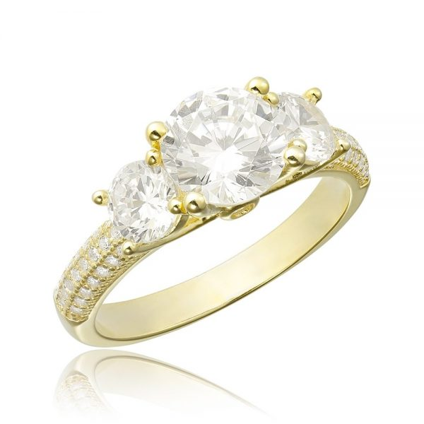 Inel de logodna argint Yellow cu 3 cristale mari TRSR113, Corelle