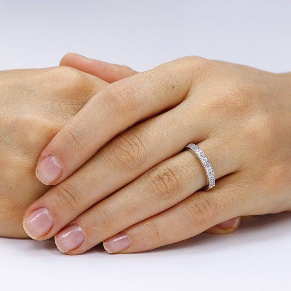 Inel argint Semi Eternity cu cristale TRSR131, Bijuterii - Corelle