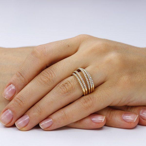 Inel argint Semi Eternity Fancy cu cristale TRSR155, Bijuterii - Corelle