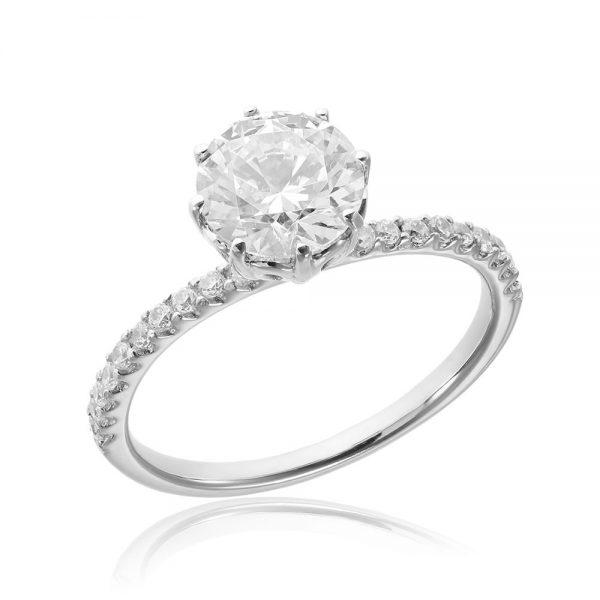 Inel argint Solitar cu cristale laterale TRSR163, Bijuterii - Corelle