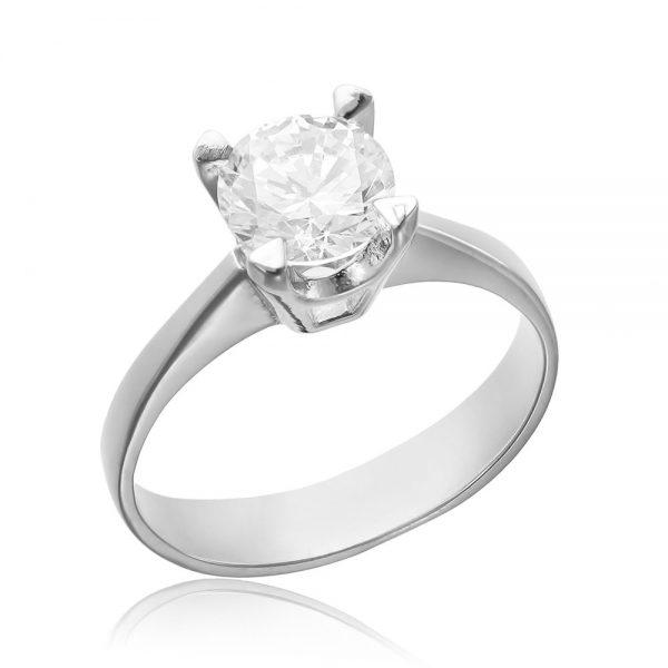 Inel argint Solitar cu cristal briliant din zirconiu TRSR164, Corelle