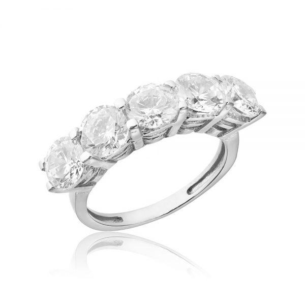 Inel argint cu 5 cristale briliant din zirconiu TRSR166, Bijuterii - Corelle