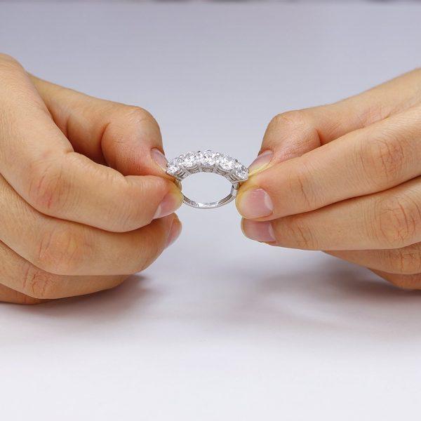 Inel argint cu 5 cristale briliant din zirconiu TRSR178, Bijuterii - Corelle