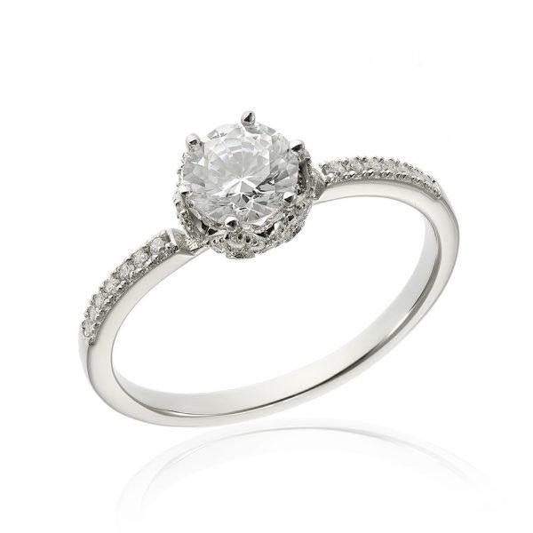 Inel de logodna argint Solitar cu cristale laterale TRSR183, Corelle