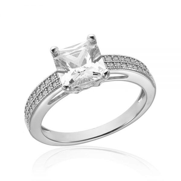 Inel de logodna argint Princess Solitar cu cristale TRSR184, Corelle