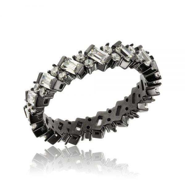 Inel argint Eternity Bagheta cu cristale TRSR185, Corelle