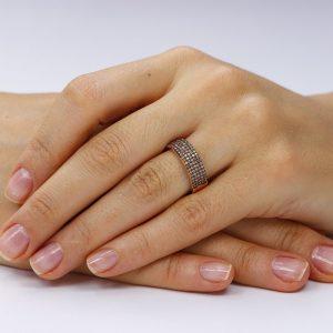 Inel argint Semi Eternity Fancy cu cristale TRSR186, Bijuterii - Corelle