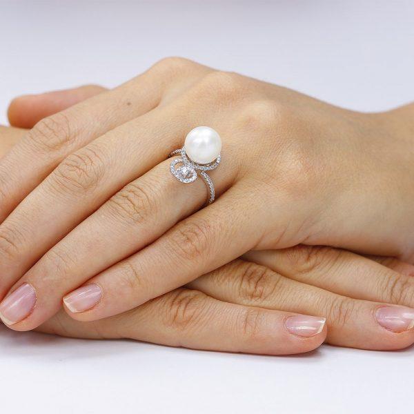 Inel argint Solitar Fancy Perla cu cristale TRSR190, Corelle