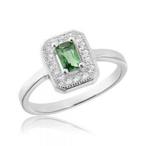 Inel Argint Zirconiu Verde - Corelle
