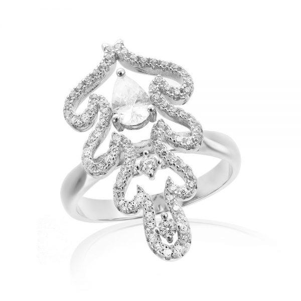 Inel argint Fancy Lacrima cu cristale mici din zirconii TRSR203, Corelle