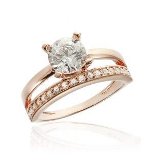 Inel argint Solitar cu cristale laterale laterale/sant TRSR205, Corelle