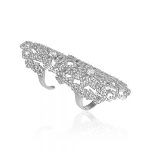 Inel argint Fancy cu cristale mici din zirconii TRSR207, Bijuterii - Corelle