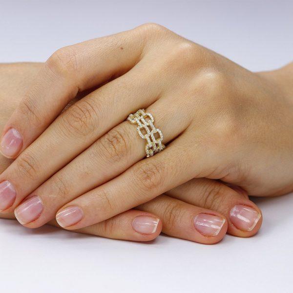 Inel argint Fancy Squares cu cristale TRSR210, Bijuterii - Corelle