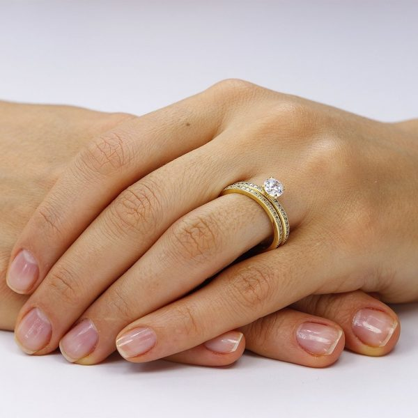 Grup de doua inele logodna argint cu cristale TRSR240, Corelle