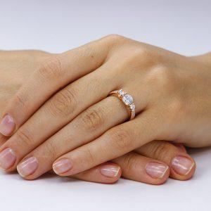 Inel de logodna argint Rose cu 3 cristale mari TRSR241, Corelle