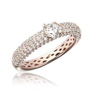 Inel argint Rose & Black Solitar cu cristale laterale TRSR268, Corelle