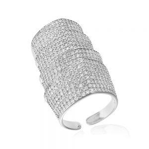 Inel argint Fancy Wide Bendable cu cristale din zirconii TRSR274, Corelle