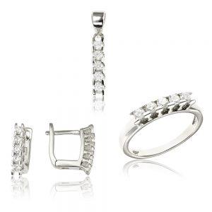 Set argint cu 3 cristale briliant din zirconiu TRSS027, Bijuterii - Corelle