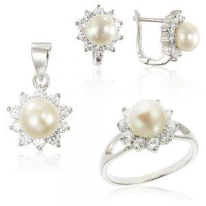 Set argint Fancy Perla cu cristale TRSS048, Corelle