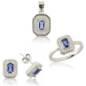 Set argint Albastru Safir cu cristale TRSS050, Corelle